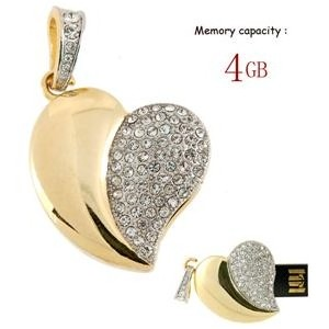 4GB Crystal Heart USB Flash Drive (Golden)
