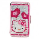 Exquisite Right-Left Open Style Cover/ Skin Case with Hello Kitty Crystal for iPhone 3G/3GS