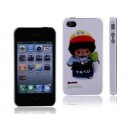 Monchhichi Doll with Radish Rubberized Coating Back Skin Case for iPhone 4