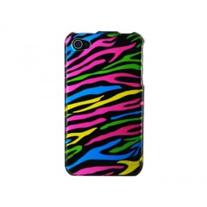 Strip Design Double Painted Open-face Case for iPhone 4S