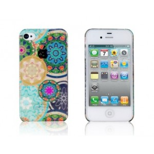 Printed Rain Drop & Flower Pattern Protective Case for iPhone 4/4S