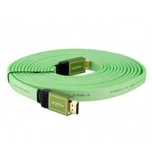 1.4 Version HDMI Male to Male Green Flat Cable (16FT./5M)
