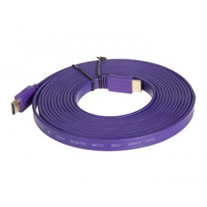 1.4 Version HDMI Male to Male Purple Flat Cable (16FT./5M)