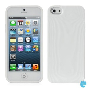 Cubic Wood Grain Style Protective TPU Soft Back Case for iPhone 5 - White