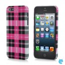 Check Pattern Protective ABS Back Cover Case for iPhone 5 - Black + Red + White