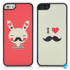 Cute Love & Rabbit Pattern Protective Plastic Matte Back Case for iPhone 5