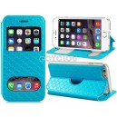 Faux Leather Flip Case with Mount Stand & Dual Window Display for 4.7'' iPhone 6 (Blue)