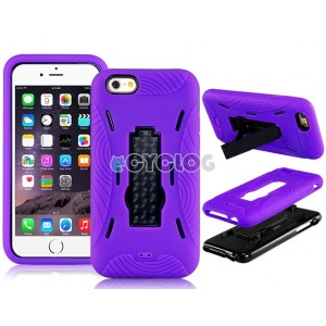 2-In-1 Plastic & Silicone Case with Robbot Design Mount Stand Holder for 4.7'' iPhone 6 (Purple)