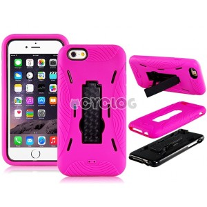 2-In-1 Plastic & Silicone Case with Robbot Design Mount Stand Holder for 4.7'' iPhone 6 (Rose Red)