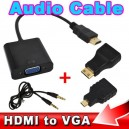 HDMI to VGA with Audio Cable Micro Mini HDMI Male Adapter to VGA Female Built-in 1080p Chipset Converter For Xbox 360 PS3 PS4
