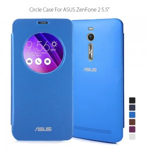 ASUS Zenfone 2 Case Quick Circle Battery Door Back Cover Plastic Smart Flip Leather Cover